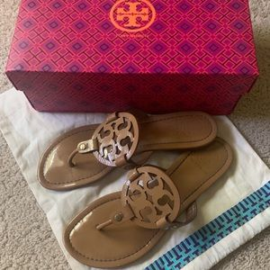 Tory Burch Miller Flip Flop in Sand Patent